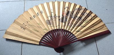"Rare Old Art Vintage Hand Fan Painting Paper 20"" Free Shipping"