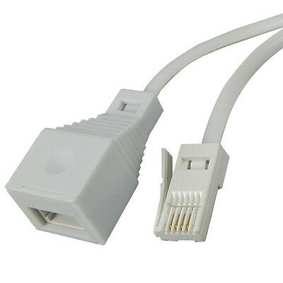 15m Telephone Landline Extension Cable Wire Cord Phone Fax Modem Broadband Lead