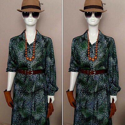 Vintage 1970's Green/Blue Two Piece Shirt/Skirt Set by Linda Leigh. Size L.