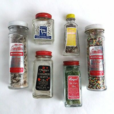 VTG Cake Cookie Sprinkles Lot Glass Bottles Dragees Royal On Tops Candy Topping