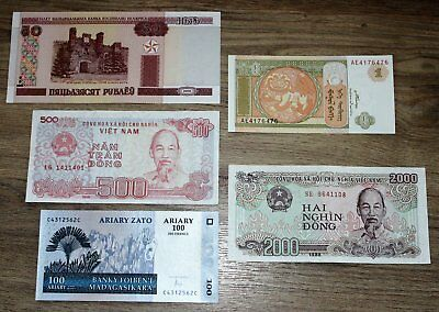 World Banknotes, 5 all different.  UNC/VGC *World5.6.1*