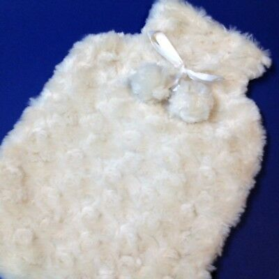 Morgan & Finch - Cosy Hot Water Bottle Cover - Cream with Satin Bow & Pom Poms