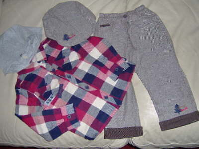 Boys 3 Piece Set With Tweed Trousers- Flat Cap & Check Top-Age 12/18 -18/24 -2/3