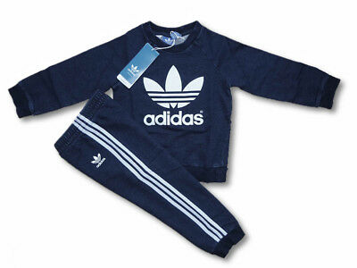 ADIDAS Originals Kinder Jogginganzug Sport Trainingsanzug 100% Baumwolle Denim