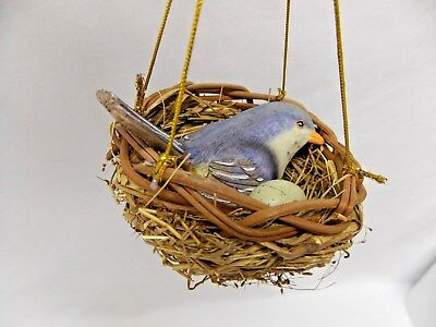 Bluebird in Nest w/Egg Figurine Christmas Tree Ornament Resin Gold String 4 Inch