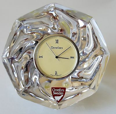 """Orrefors """"residence"""" Octagonal Sweden Crystal Clock Figurine New Paperweight"""