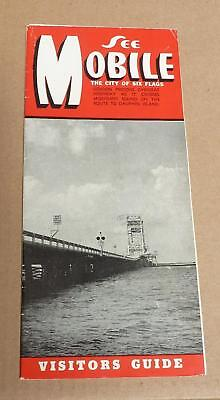 ALABAMA TOURIST BROCHURE-Mobile Visitors Guide-10 Panels-1950s