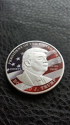 American Usa President Donald Trump Silver Plated Pad Print Challenge Coin