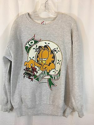 Vtg Jerzees 1978 Unisex XL Garfield Christmas Yo Jingle This Sweatshirt Grey