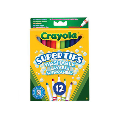 Crayola 12 Coloured Supertip Washable Markers Pens