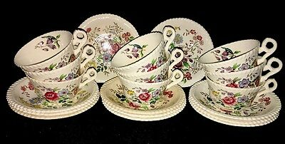 Spode Copeland Romney Lot of 9 Cup and Saucer Sets Great Britain + 2 Saucers