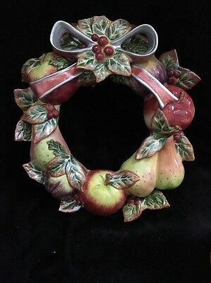 Fitz & Floyd Classics Enchanted Holiday Hanging Fruit Wreath Orig Box