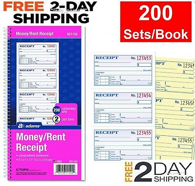 Adams Money and Rent Receipt Book: Record Cash Check Payments 2-Part Carbonless