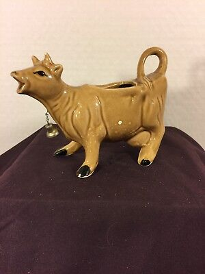Tan Light Brown Ceramic Cow Creamer