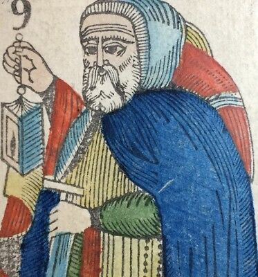 c1845 Authentic The Hermit Major Arcana Tarot Playing Cards Historic Single