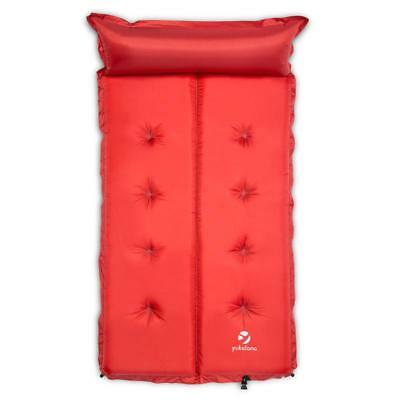 YUKATANA DOUBLE AIRBED 7CM CAMPING SLEEPING MAT w. PILLOW RED