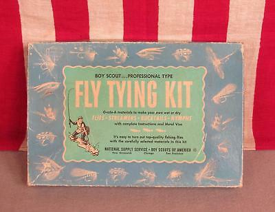 Vintage Boy Scouts Official Fly Tying Kit Fishing National Supply Metal Vise BSA