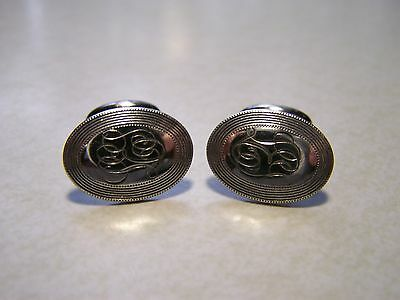 Antique Victorian Sterling Bean Back Cufflinks Monogram Initials LIE or LJE