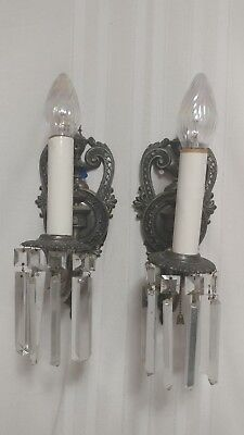 1920s Pair Cast Metal Matching Wall Sconce Light Fixtures with Crystal Prisms mc