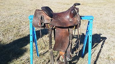Vintage Tooled Leather Saddle King of Texas Saddle (New Stirrup Leathers!)