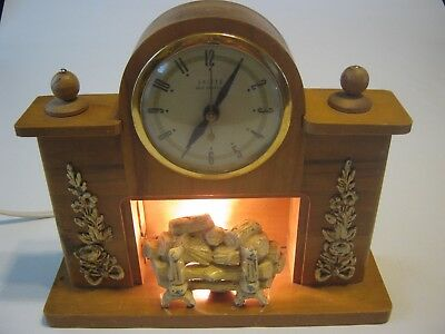 Vintage 1940s United Fireplace Electric Wood Mantel Clock