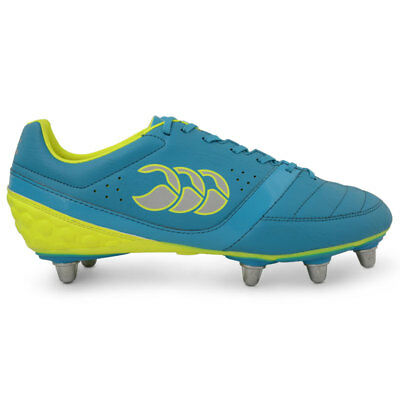 Canterbury CCC Adult Phoenix Club 8 Stud Rugby Boot (Atomic Blue/Safety Yellow)