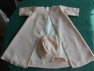 Antique Pink Silk Baby Coat With A Matching Hat, Hand Made And Embroidered, 1920