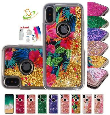 Apple iPhone 8 /PLUS Bling Liquid Glitter Quicksand Hybrid Rubber Case Cover Pad