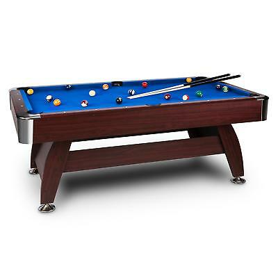 Oneconcept Brighton Pool Snooker Billiard Table Wood Blue Cloth Ball Cues Rack