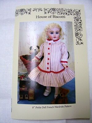 "8"" Petite ""French"" Doll Wardrobe PATTERN, Hat, Undies, 2  Dresses,"