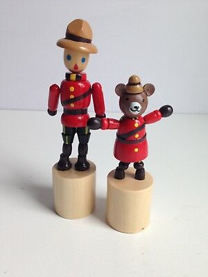 Lot of 2 Wooden Push Puppet Press Button Figure Collapsing RCMP Canada Mountie