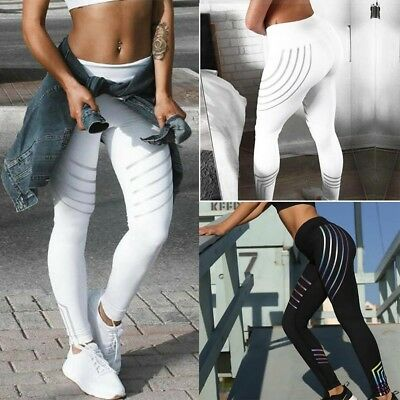 Women Yoga Gym Stretch Trousers Leggings Fitness Jogging Running Sports Pants HS