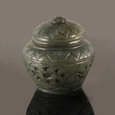 100% NATURAL NEPHRITE CHINESE MUGHAL STYLE BOTTLE BOX 17th century