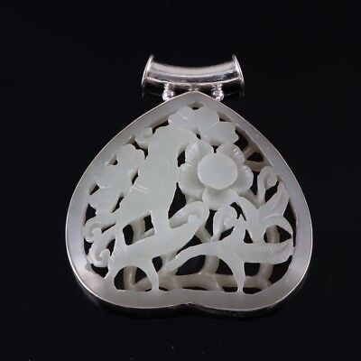 100%natural Nephrite Jade Mughal Carving 92.5 Silver Pendant Antique 3D Carving