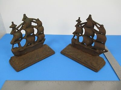 Vintage Antique Cast Iron Brass Plated Decorative Book Ends Old Ironsides VS25
