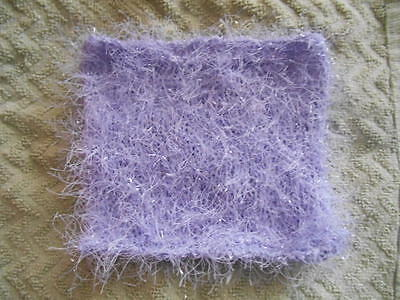 """Mini Small Hand knitted Lavender lilac fun fur Doll Blanket-rug 5in x 6"""""""