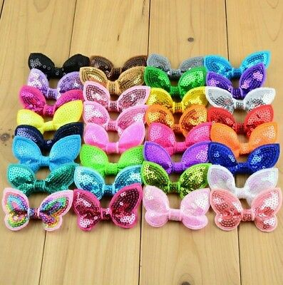 Pair of Girls Baby kids children sequin butterfly hair  bow with alligator clips