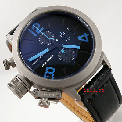 50mm PAGANI Black Dial Full Chronograph Blue Mark Date Quartz Men's Watch 045