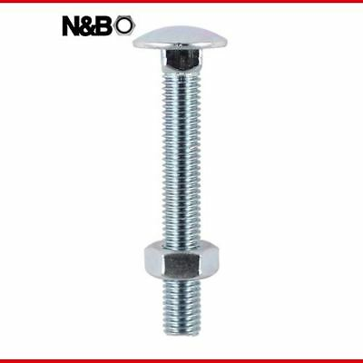 8.0 x 130 Carriage Bolt & Hex Nut - BZP - 08130CB