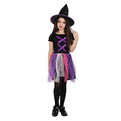 Witch Costume Girls Halloween Black and Purple Kids Fancy Dress Cosplay