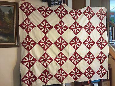 """Very Old Antique One Of The Kind Red/White Pinwheel Quilt Top 72"""" x 86"""" AMAZING!"""