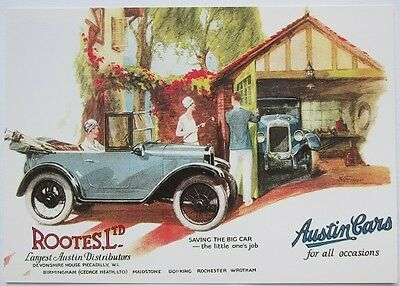 Pack of 15 New Vintage Ad Gallery Postcards: No 81 Austin Chummy 1927