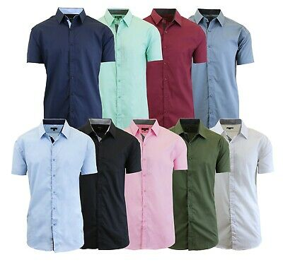 Men's Short Sleeve Shirt Plaid Gingham Check Slim Fit Button Down Dress Casual