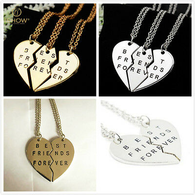 New Pieces Broken Heart Pendant Necklace Chic Best Friends Forever Necklace FT