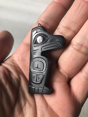 Northwest Coast Native Art (Haida) Argillite Raven Pendant
