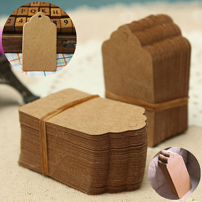 100X Brown Kraft Paper Hang Tags Label Wedding Party Scallop Gift Cards 5*3cm5FT