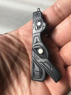 Northwest Coast Native Art (Haida) Argillite Raven and Bear Pendant