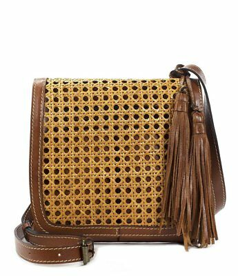 NWT Patricia Nash Granada Leather & Wicker Flap Crossbody Bag - Made In Italy