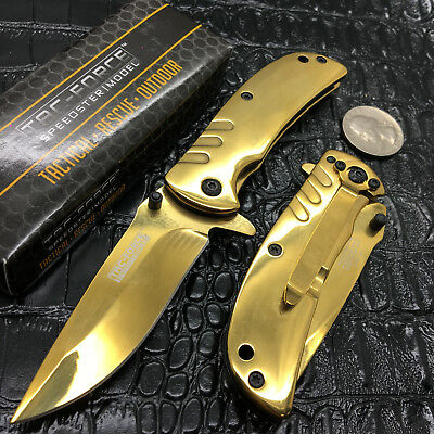 """Tac Force Spring Open 2.75"""" Golden Ti-coating Stainless Steel Blade  Gold Knife"""