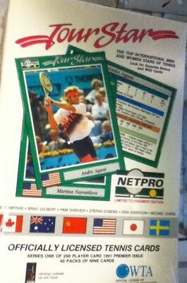 1991 Netpro Tour Stars Series 1 Brand New Factory Sealed 40 Packs Of 9 Cards Box